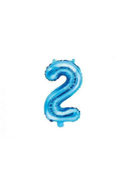 Balónek fóliový narozeniny číslo 2 - modrý