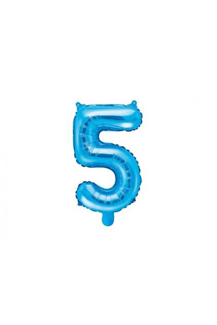 Balónek fóliový narozeniny číslo 5 - modrý