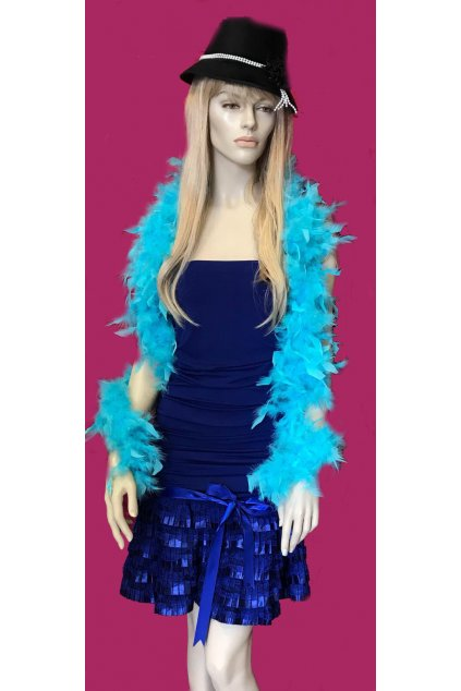 Modré šaty s mašlí