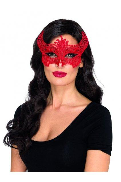 Červená krajková maska ďábel