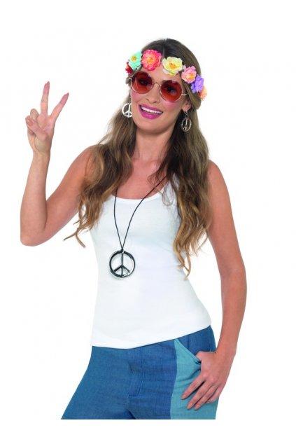 Hippie sada - čelenka, brýle, náhrdelník, náušnice