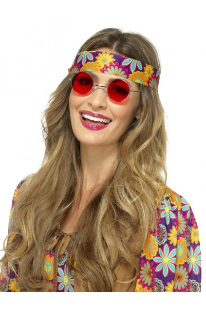 Brýle Hippie lenonky - červené