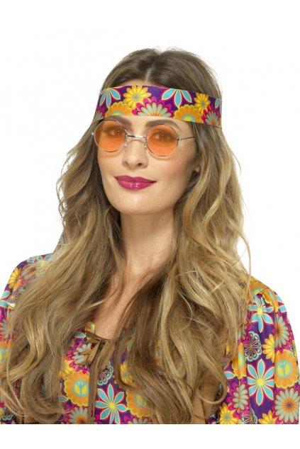 Brýle Hippie lenonky - oranžové