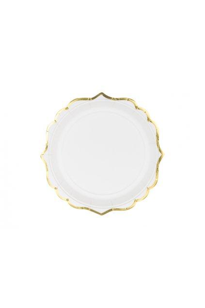 Papírové talírky - bílé se zlatým okrajem 6ks
