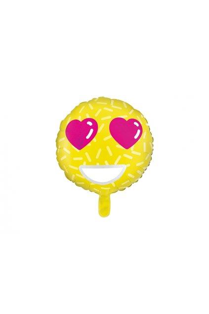 Smajlík zamilovaný - foliový balónek