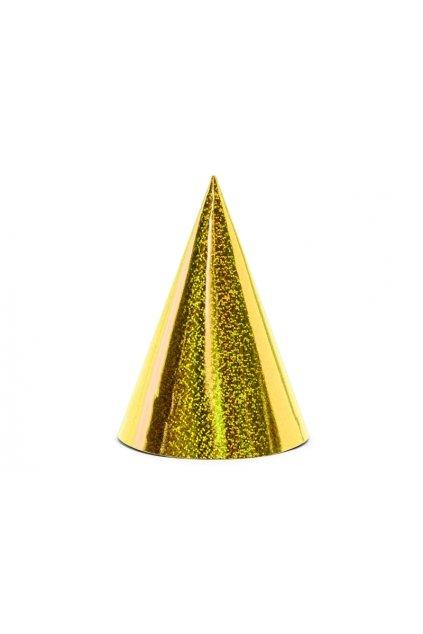 Párty čepice 6ks - zlatá