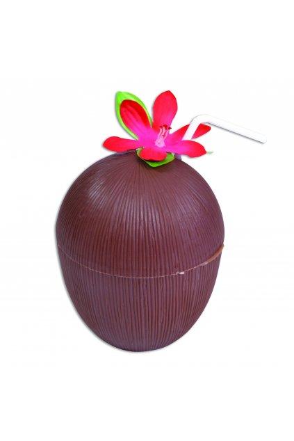 Pohár ve tvaru kokosu s květinou a brčkem