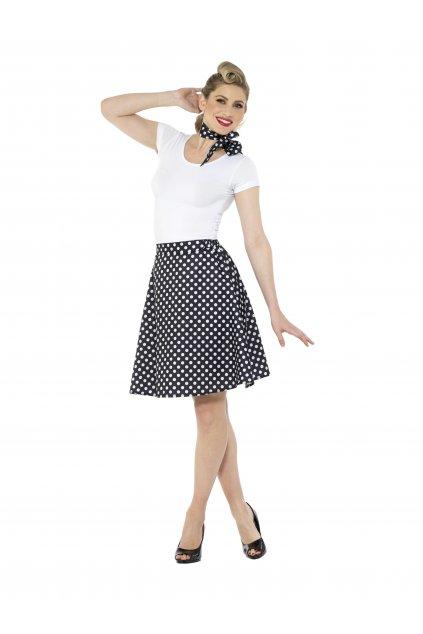 Retro sukně s šátkem - černá s putíky - Polka Dot