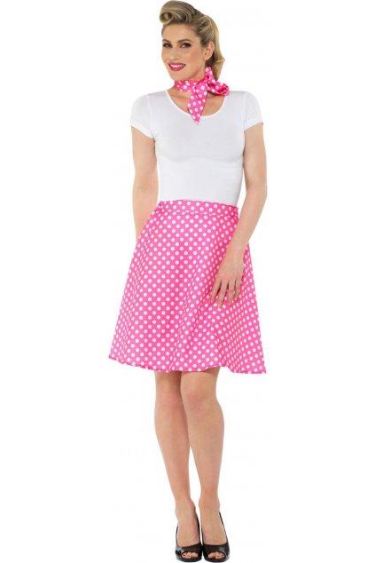 Retro sukně s šátkem - růžová s putíky - Polka Dot