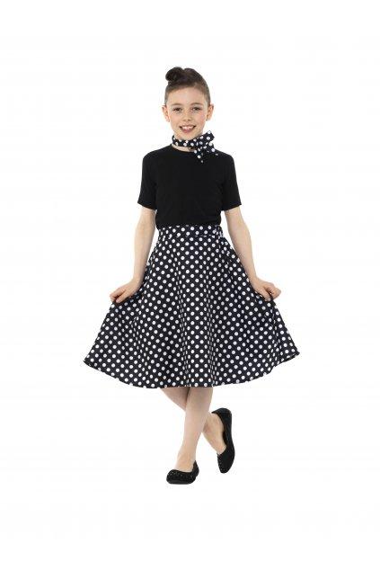 Dětská sukně s šátkem - černá s putíky - Polka Dot