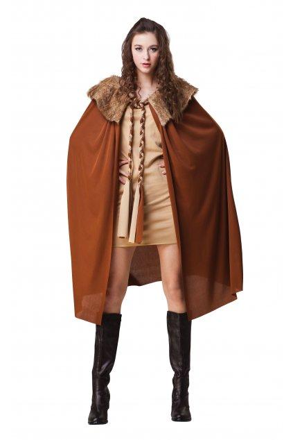 Dámský plášť - hnědý s kožešinovým límcem - hra o trůny