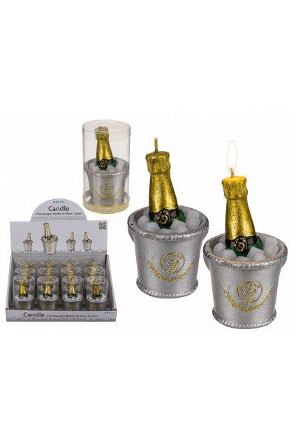 Svíčka šampaňské - svatební dekorace