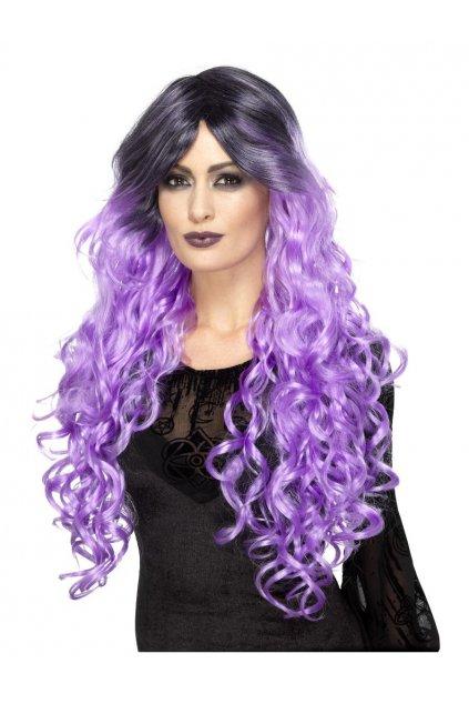Dlouhá fialová paruka - Gothic