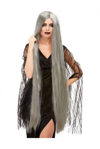 Paruka čarodějnice - dlouhá šedá paruka 120cm