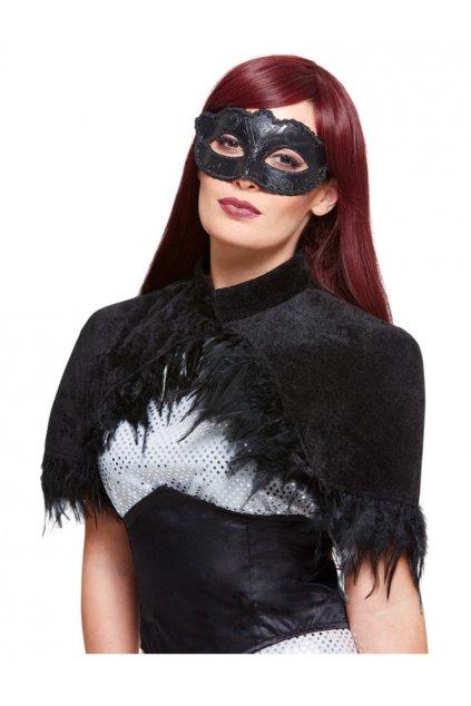 Pelerína s peřím a benátská maska