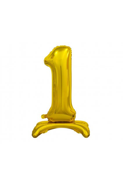 b c standing foil balloon digit 1 gold 74 cm