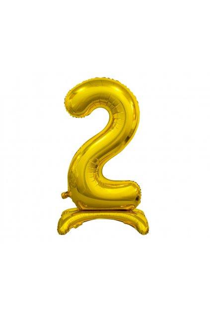 b c standing foil balloon digit 2 gold 74 cm