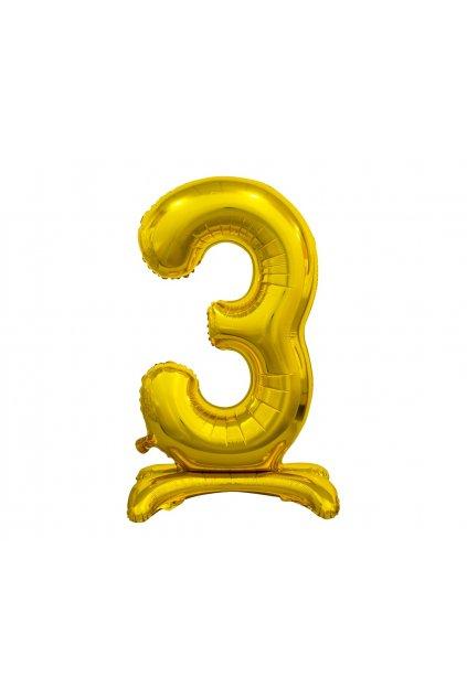 b c standing foil balloon digit 3 gold 74 cm