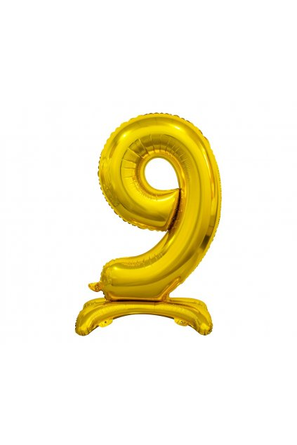 b c standing foil balloon digit 9 gold 74 cm