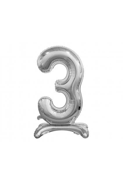 b c standing foil balloon digit 3 silver 74 cm