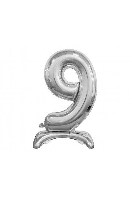 b c standing foil balloon digit 9 silver 74 cm