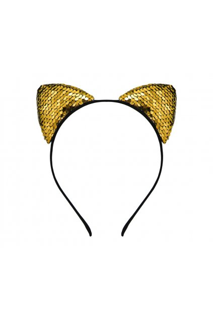 headband cat with sequins gold