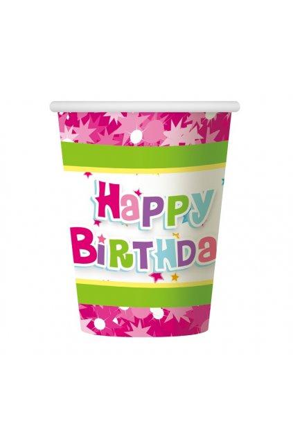 paper cups happy birthday pink 270 ml 6 pcs