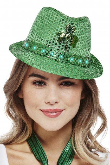 Svítící zelený klobouk s čtyřlístkem - Saint Patrick's Day