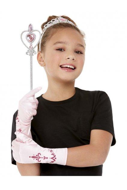 Růžová princezna - korunka, hůlka, rukavice