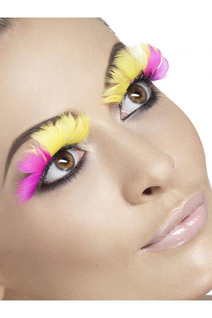 feder wimpern lang pink gelb kuenstliche wimpern augenwimpern falsche wimpern karneval halloween kostuem accessoire zube 51966
