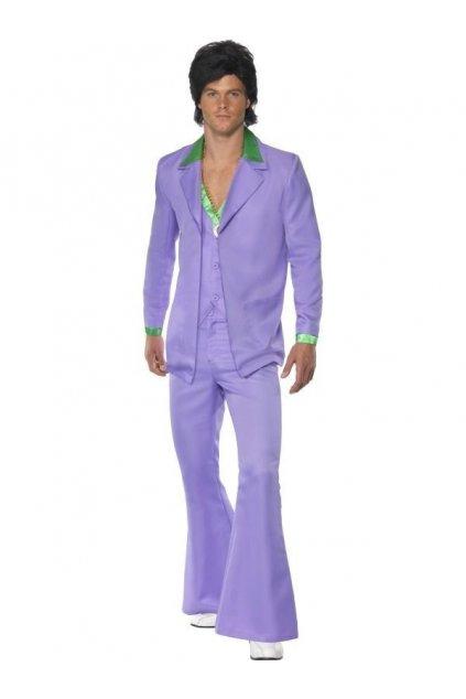 Pánský oblek - Fialový 70. léta - výprodej z půjčovny