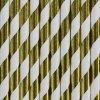 Papírová brčka - zlaté pruhy - 10ks