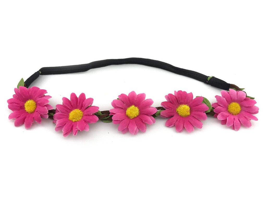 cd712c6c353 Květinová čelenka tmavě růžová