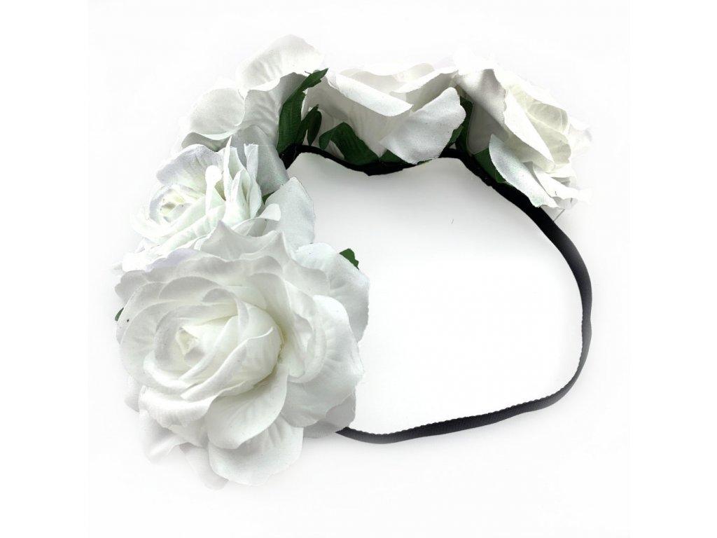 Květinová čelenka bílé růže  e209e9bab7