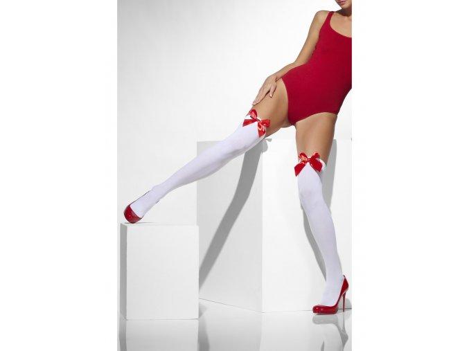 Bílé punčochy s červenou mašlí