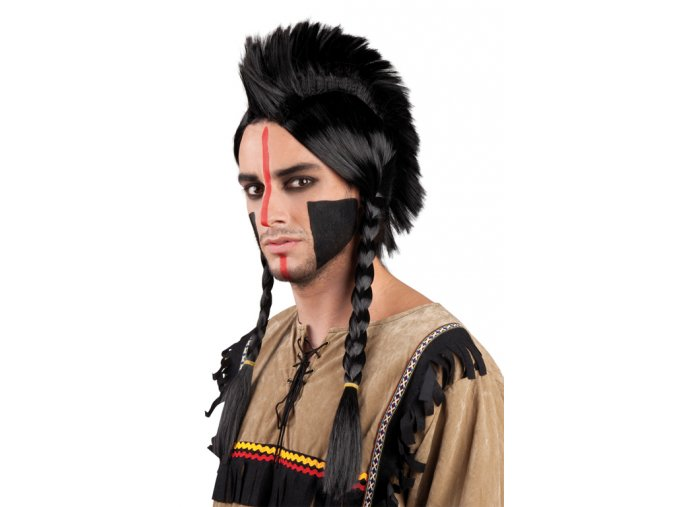 Paruka Indián s čírem a copánky