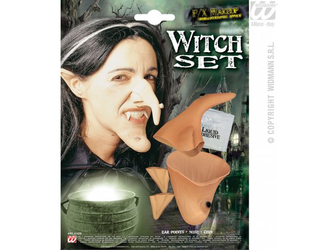 Set čarodějnice nos, brada, uši