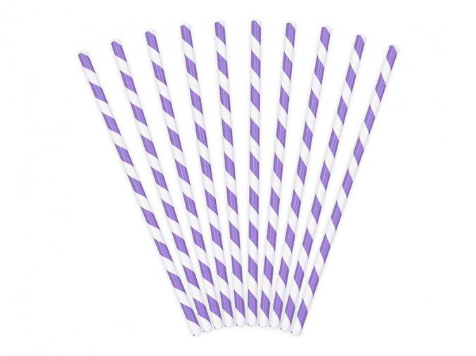 Papírová brčka fialová, 10ks
