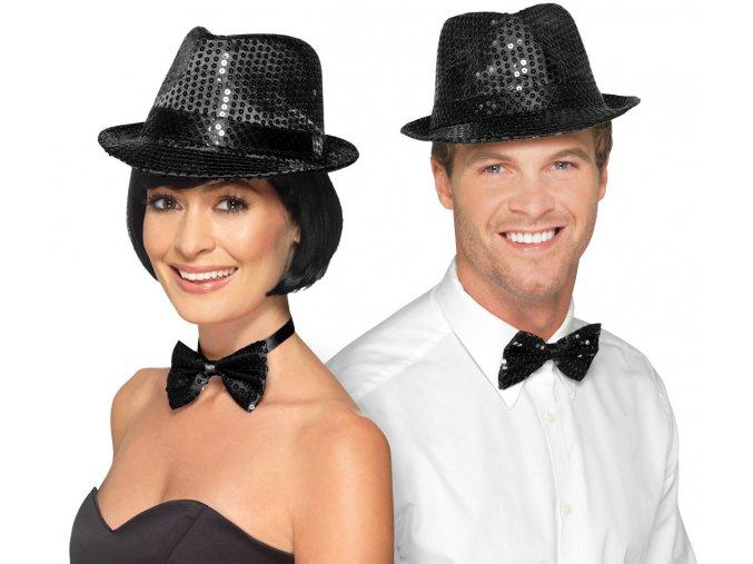 Flitrový klobouk černý