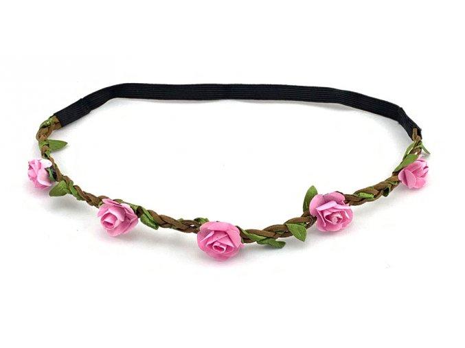 Květinová čelenka růžová Pink Rose