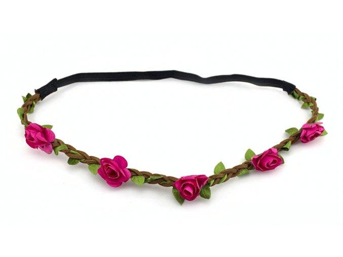 Květinová čelenka Hot Pink