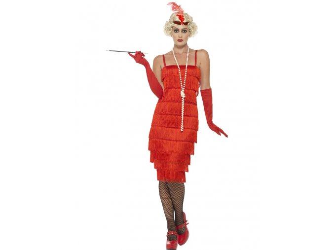 Červené šaty s třásněmi 30.léta