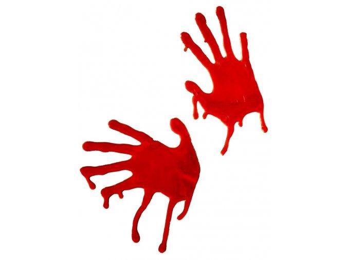 Krvavé otisky rukou na sklo (2ks)
