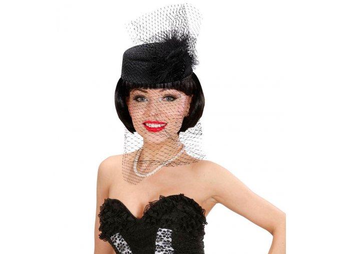 Černý retro klobouk se síťkou