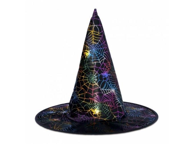 Čarodějnický klobouk s pavučinou (duhová)