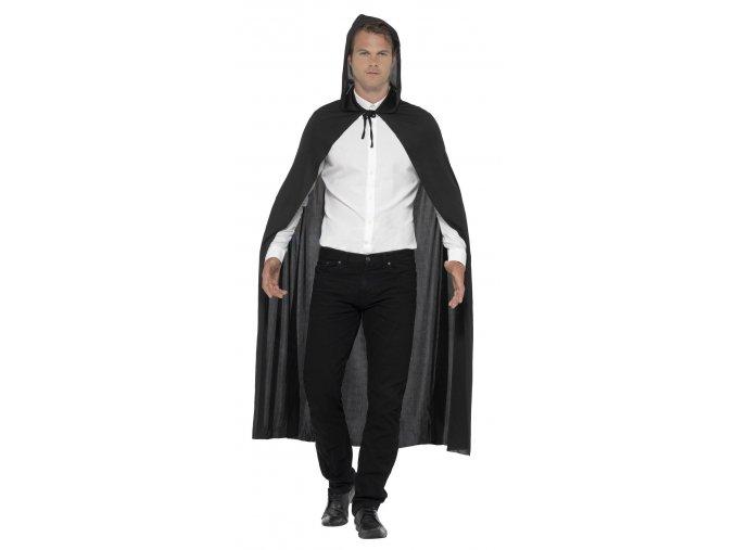 Černý plášť s kapucí (140cm)