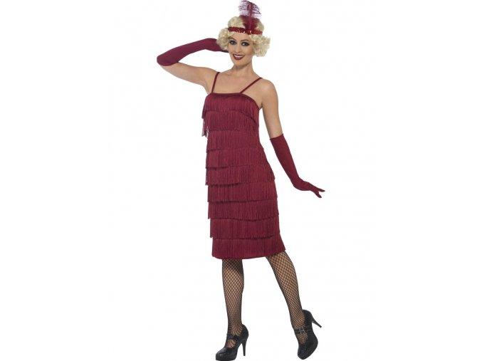 Vínové šaty s třásněmi 30. léta (dlouhé šaty)