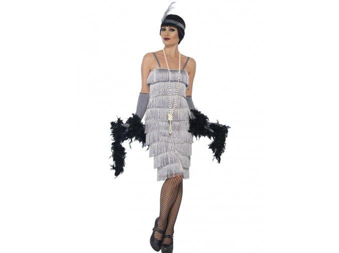 Stříbrné šaty s třásněmi 30. léta (dlouhé šaty)