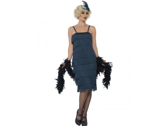 Tyrskysové šaty s třásněmi 30. léta (dlouhé šaty)