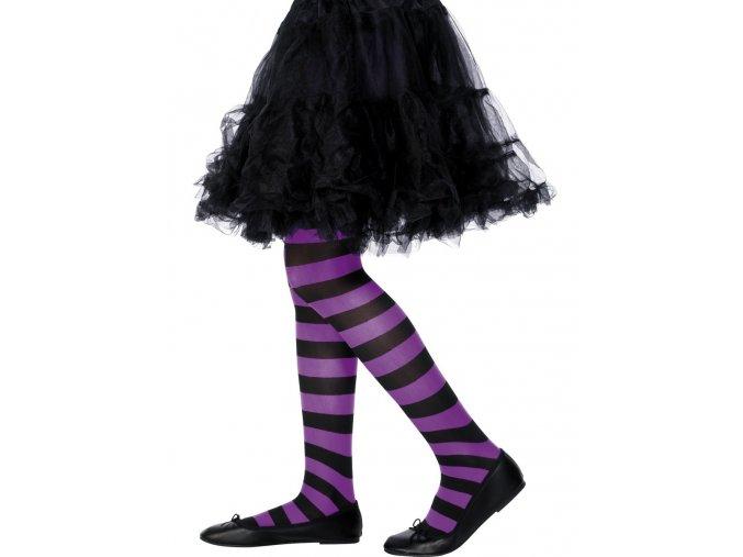 Dětské punčocháče pruhované černo-fialové (6-12 let)